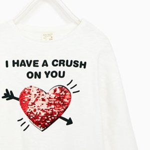 Zara I Have A Crush On You Flip Sequin Shirt